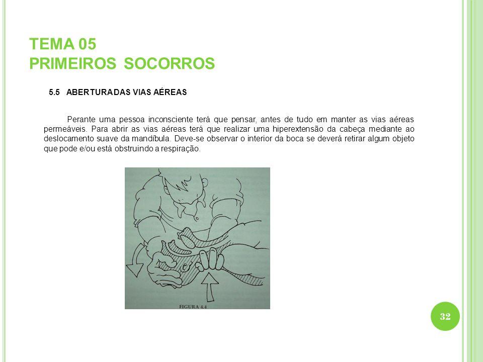 TEMA 05 PRIMEIROS SOCORROS 5.5 ABERTURA DAS VIAS AÉREAS Perante uma pessoa inconsciente terá que pensar, antes de tudo em manter as vias aéreas permeá