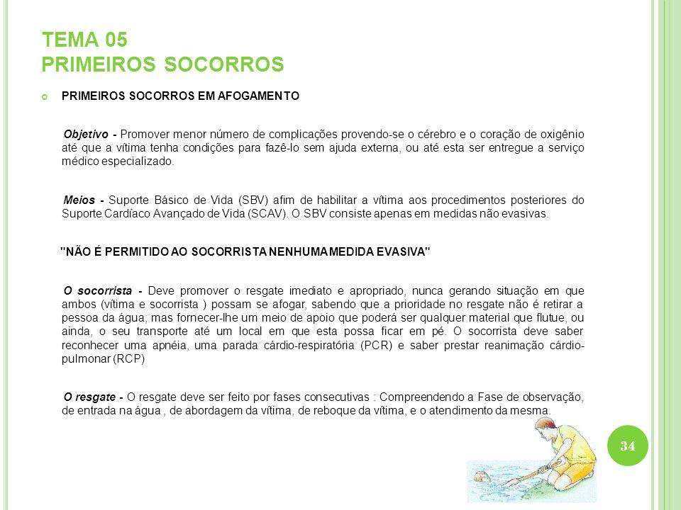TEMA 05 PRIMEIROS SOCORROS PRIMEIROS SOCORROS EM AFOGAMENTO Objetivo - Promover menor número de complicações provendo-se o cérebro e o coração de oxig