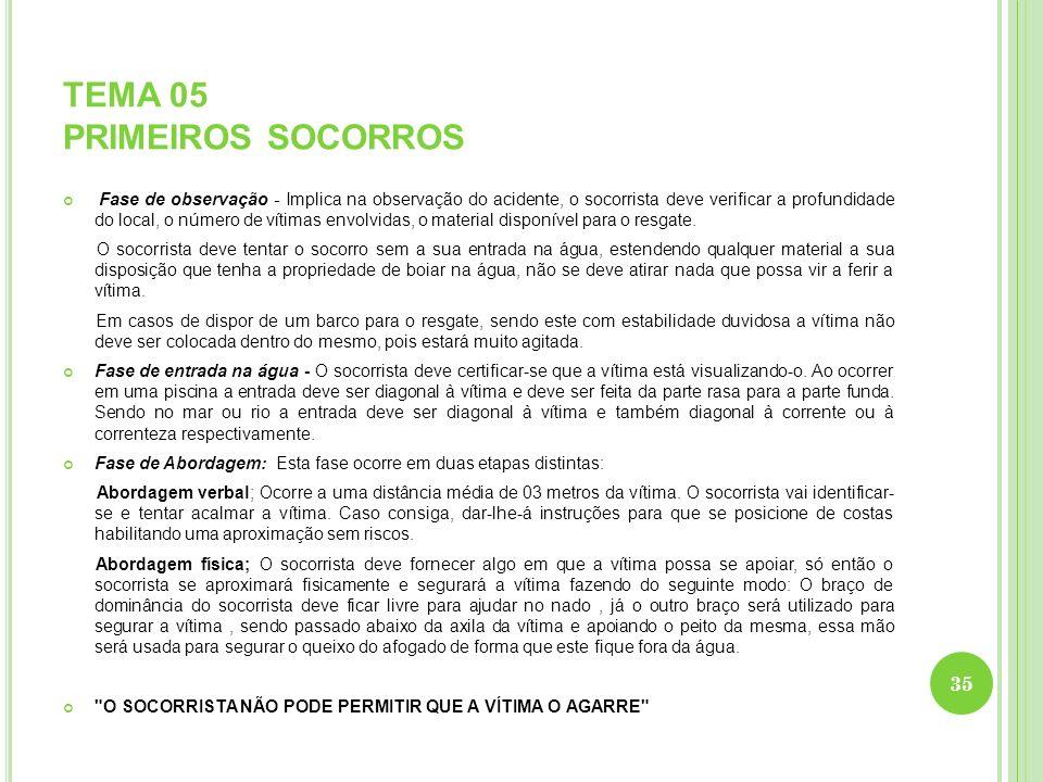 TEMA 05 PRIMEIROS SOCORROS Fase de observação - Implica na observação do acidente, o socorrista deve verificar a profundidade do local, o número de ví