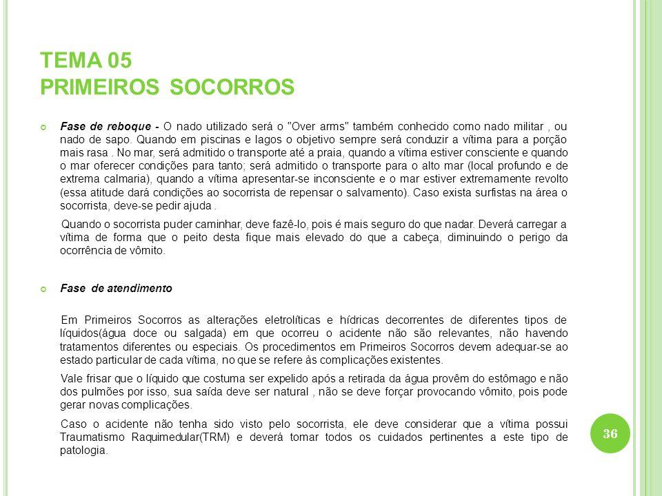 TEMA 05 PRIMEIROS SOCORROS Fase de reboque - O nado utilizado será o