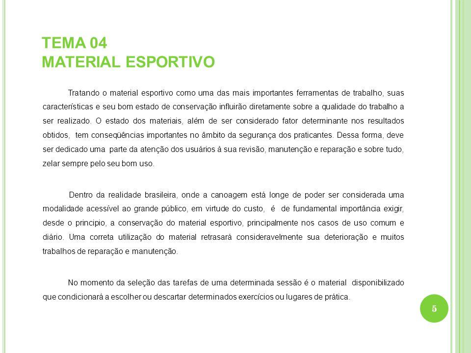 TEMA 04 MATERIAL ESPORTIVO Tratando o material esportivo como uma das mais importantes ferramentas de trabalho, suas características e seu bom estado