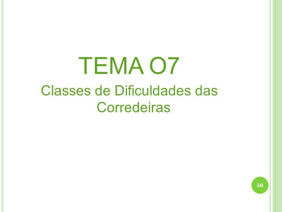 TEMA O7 Classes de Dificuldades das Corredeiras 50