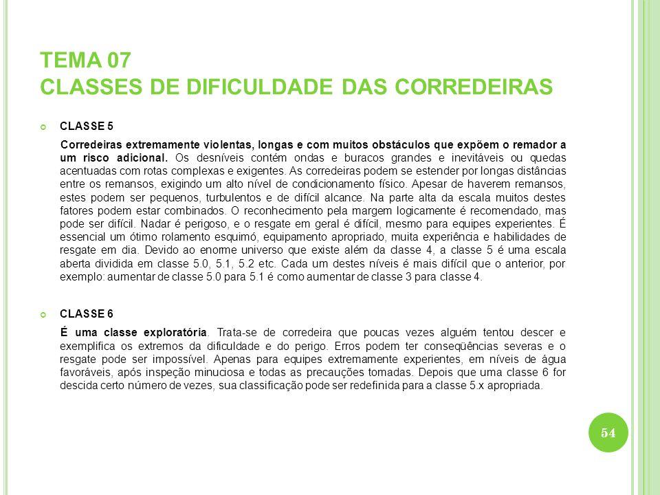 TEMA 07 CLASSES DE DIFICULDADE DAS CORREDEIRAS CLASSE 5 Corredeiras extremamente violentas, longas e com muitos obstáculos que expõem o remador a um r