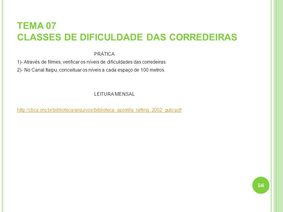 TEMA 07 CLASSES DE DIFICULDADE DAS CORREDEIRAS PRÁTICA 1)- Através de filmes, verificar os níveis de dificuldades das corredeiras. 2)- No Canal Itaipu