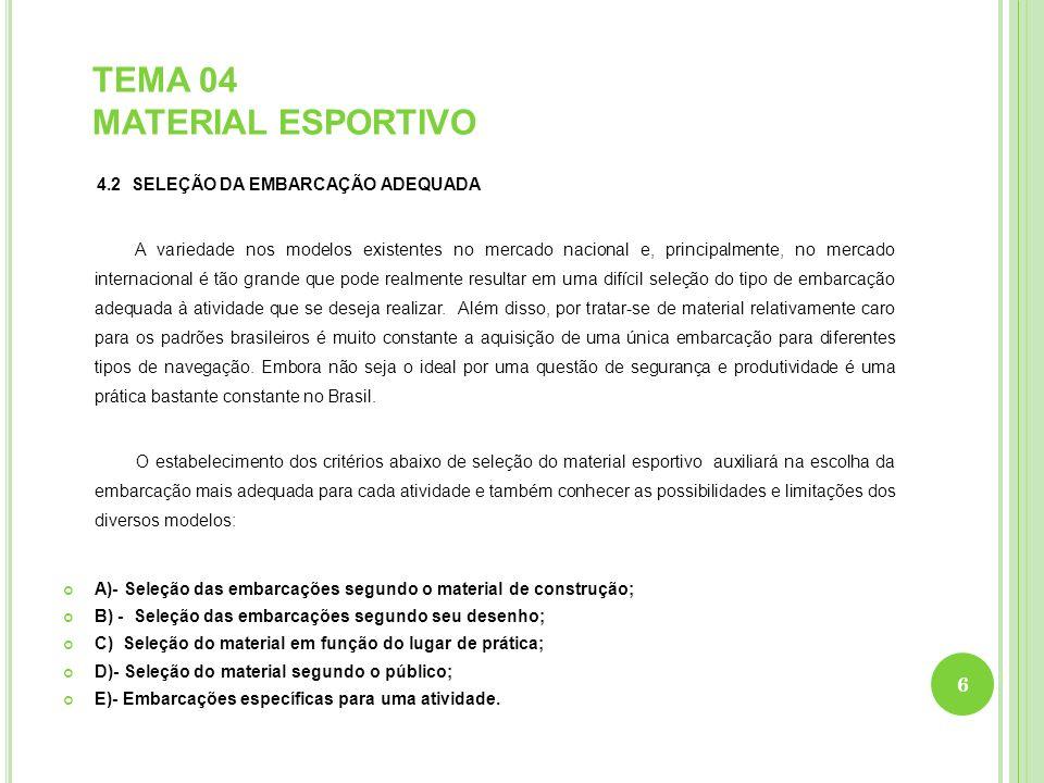 TEMA 04 MATERIAL ESPORTIVO 4.2 SELEÇÃO DA EMBARCAÇÃO ADEQUADA A variedade nos modelos existentes no mercado nacional e, principalmente, no mercado int