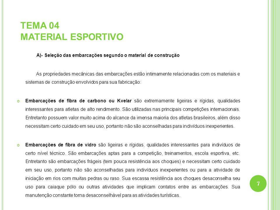 TEMA 04 MATERIAL ESPORTIVO A)- Seleção das embarcações segundo o material de construção As propriedades mecânicas das embarcações estão intimamente re