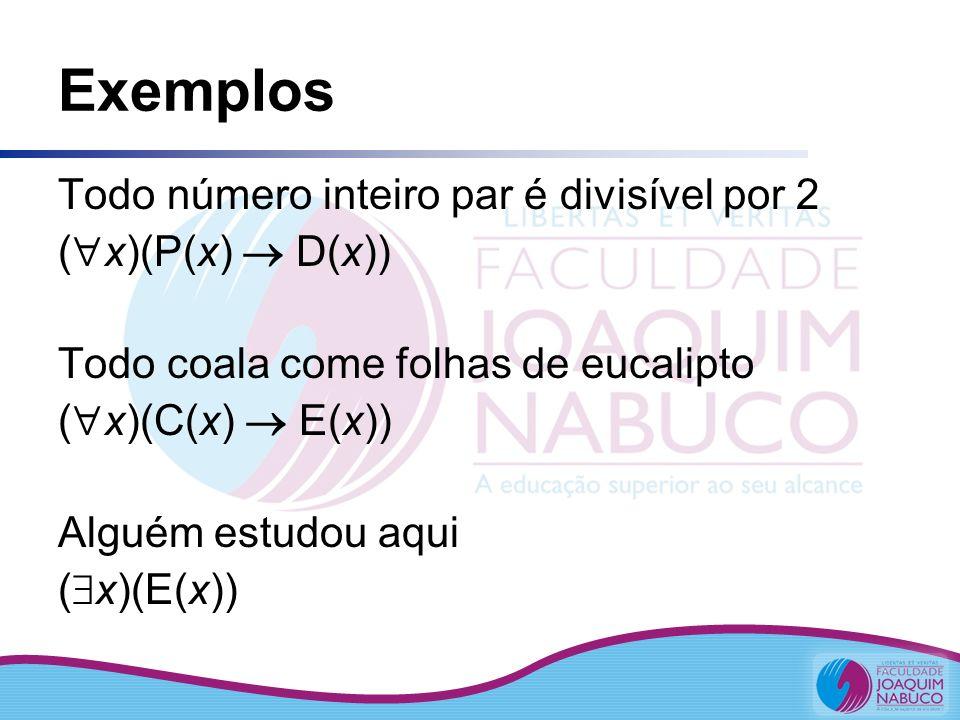 Exemplos Todo número inteiro par é divisível por 2 ( x)(P(x) D(x)) Todo coala come folhas de eucalipto ( x)(C(x) E(x)) Alguém estudou aqui ( x)(E(x))