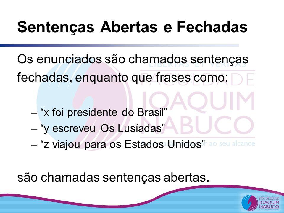 Sentenças Abertas e Fechadas Os enunciados são chamados sentenças fechadas, enquanto que frases como: –x foi presidente do Brasil –y escreveu Os Lusía
