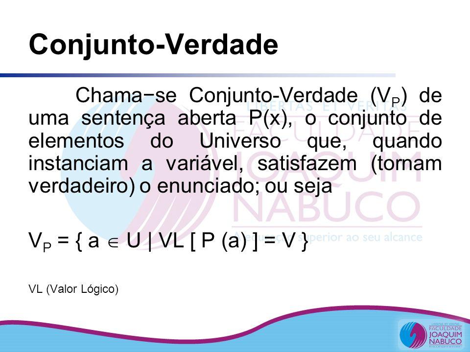 Conjunto-Verdade Chamase Conjunto-Verdade (V P ) de uma sentença aberta P(x), o conjunto de elementos do Universo que, quando instanciam a variável, s