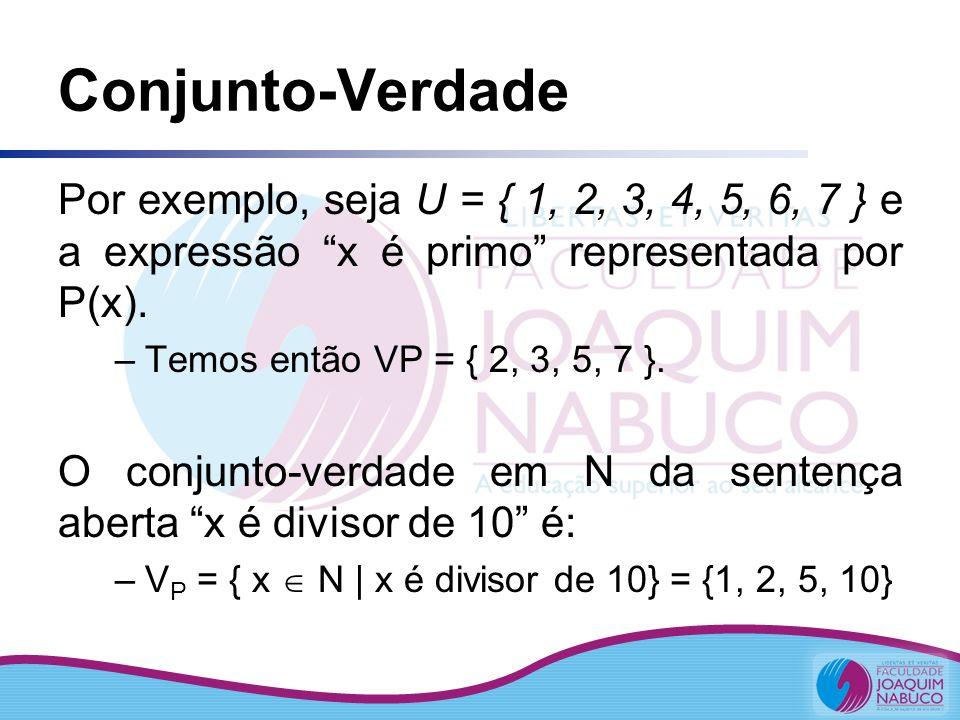 Conjunto-Verdade Por exemplo, seja U = { 1, 2, 3, 4, 5, 6, 7 } e a expressão x é primo representada por P(x). –Temos então VP = { 2, 3, 5, 7 }. O conj