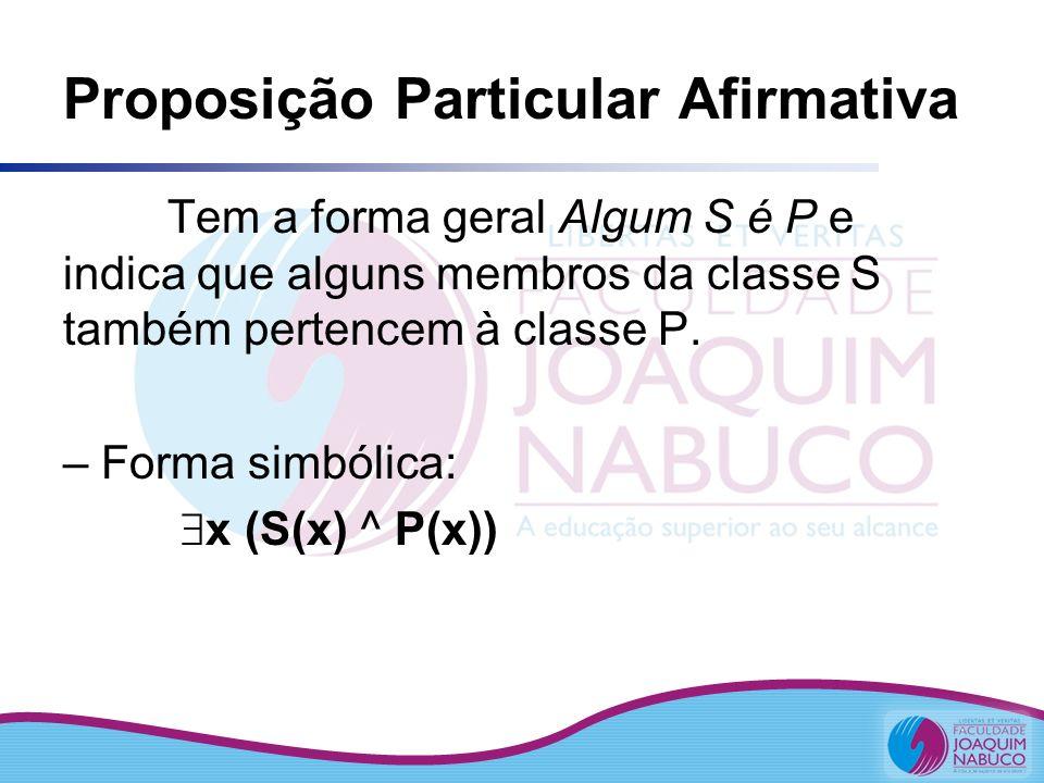 Proposição Particular Afirmativa Tem a forma geral Algum S é P e indica que alguns membros da classe S também pertencem à classe P. – Forma simbólica: