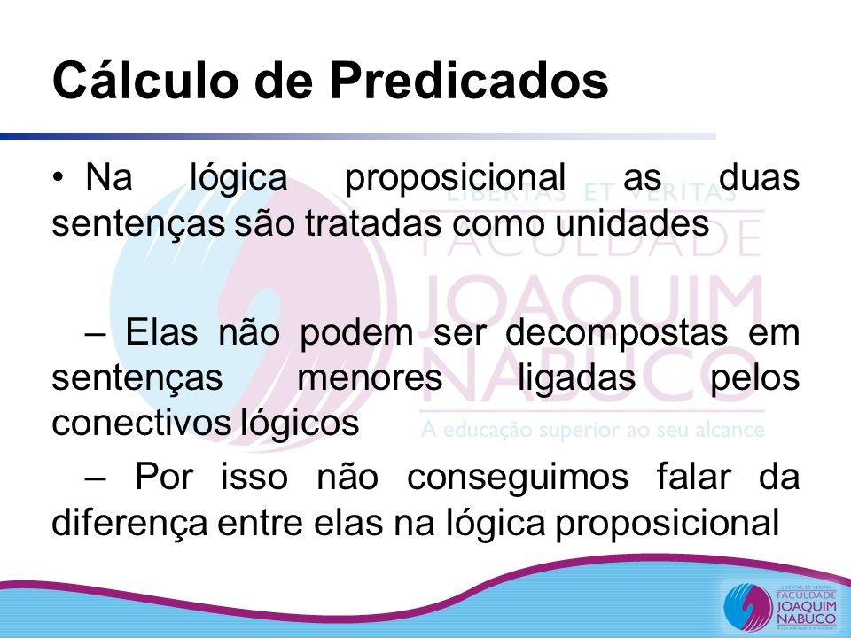 Cálculo de Predicados Na lógica proposicional as duas sentenças são tratadas como unidades – Elas não podem ser decompostas em sentenças menores ligad