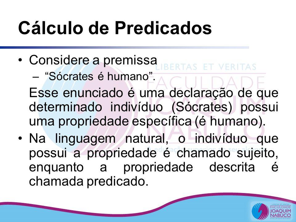 Cálculo de Predicados Considere a premissa – Sócrates é humano. Esse enunciado é uma declaração de que determinado indivíduo (Sócrates) possui uma pro
