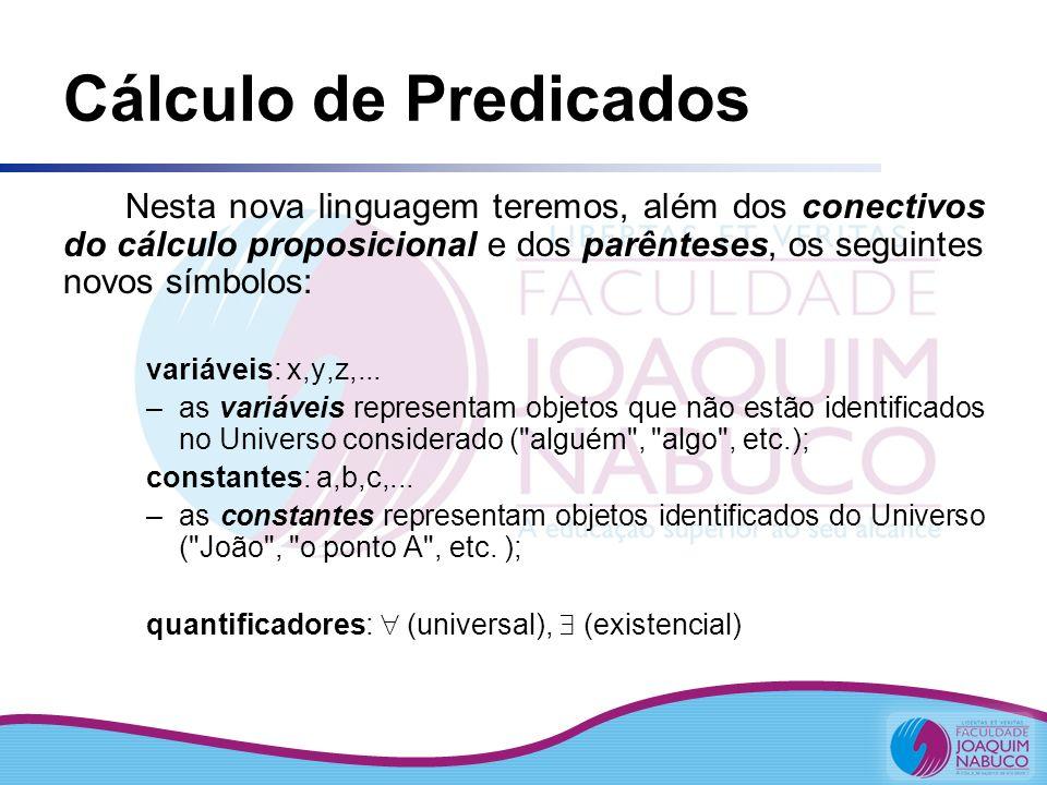Conjunto-Verdade Chamase Conjunto-Verdade (V P ) de uma sentença aberta P(x), o conjunto de elementos do Universo que, quando instanciam a variável, satisfazem (tornam verdadeiro) o enunciado; ou seja V P = { a U | VL [ P (a) ] = V } VL (Valor Lógico)