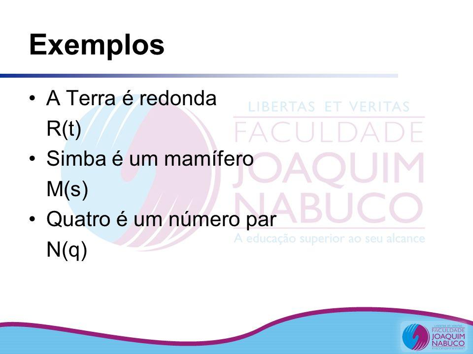 Exemplos A Terra é redonda R(t) Simba é um mamífero M(s) Quatro é um número par N(q)