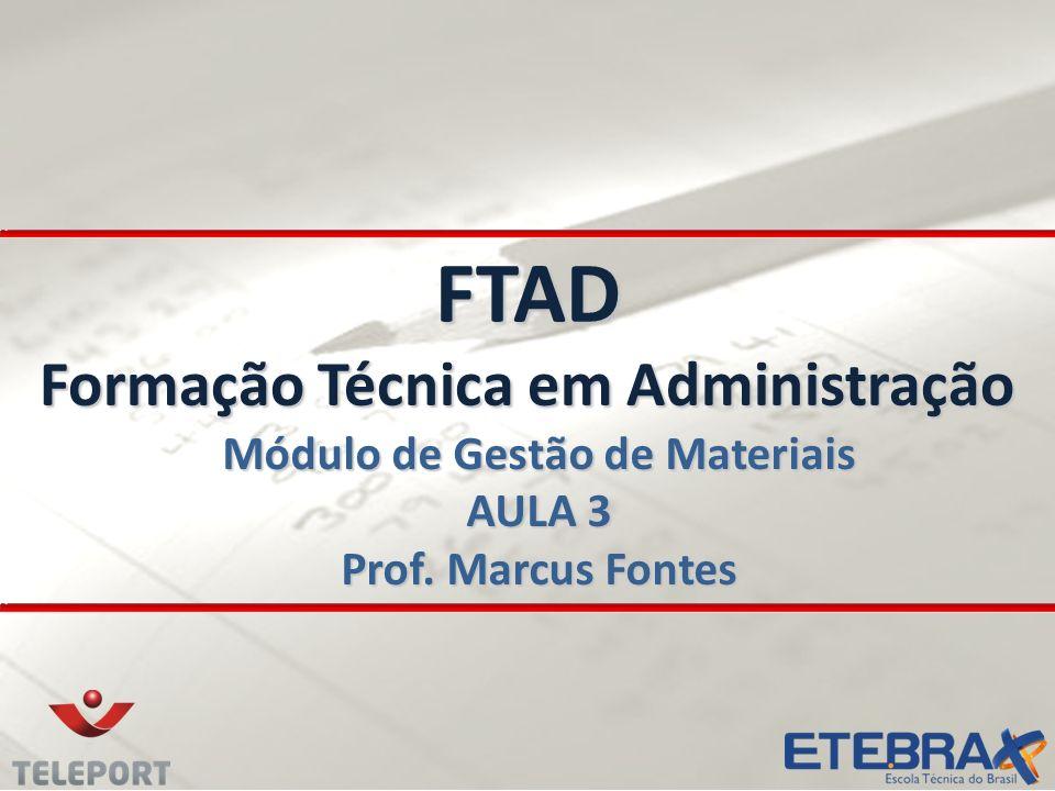 FTAD Formação Técnica em Administração Módulo de Gestão de Materiais AULA 3 Prof. Marcus Fontes