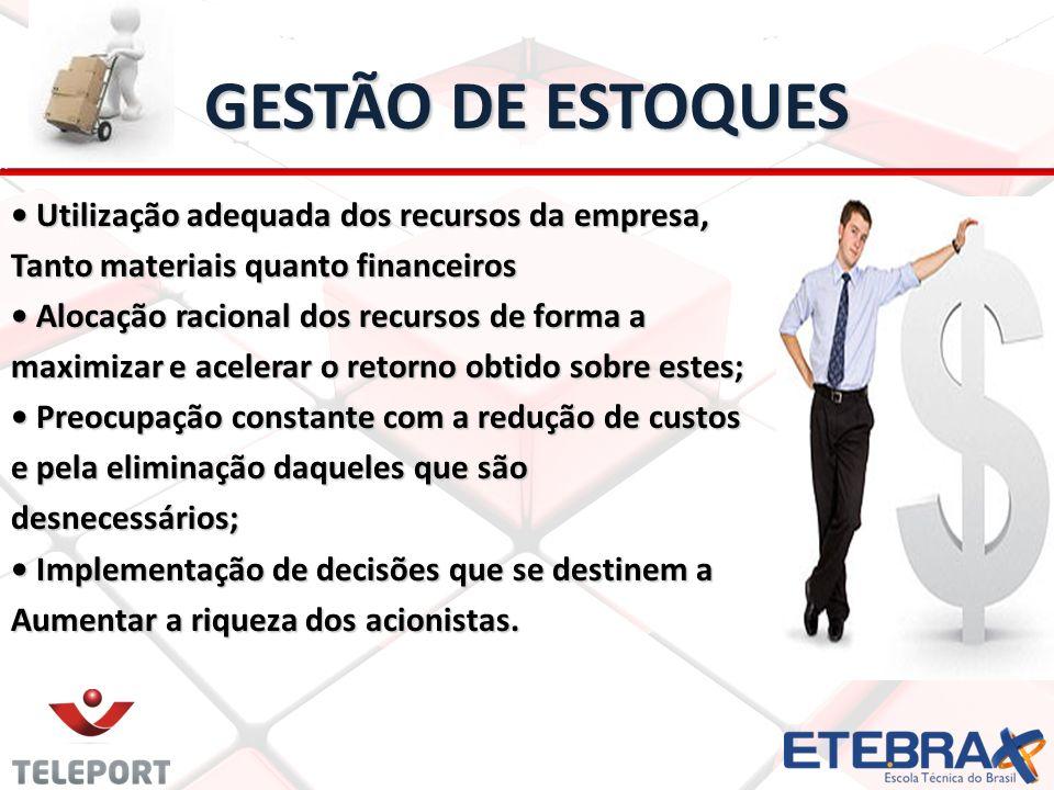 GESTÃO DE ESTOQUES Utilização adequada dos recursos da empresa, Utilização adequada dos recursos da empresa, Tanto materiais quanto financeiros Alocaç
