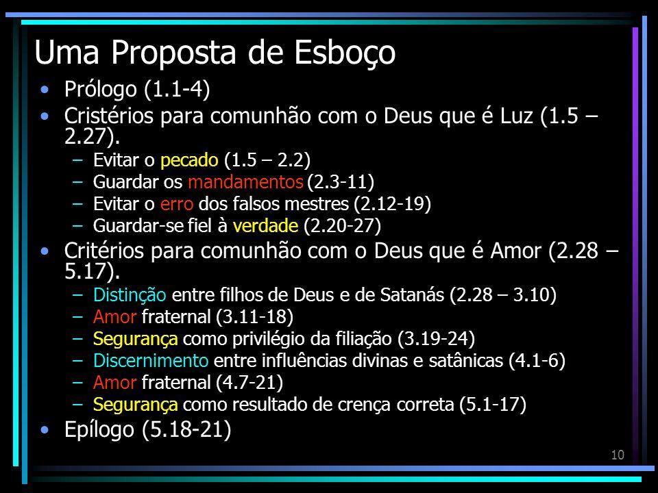 10 Uma Proposta de Esboço Prólogo (1.1-4) Cristérios para comunhão com o Deus que é Luz (1.5 – 2.27). –Evitar o pecado (1.5 – 2.2) –Guardar os mandame