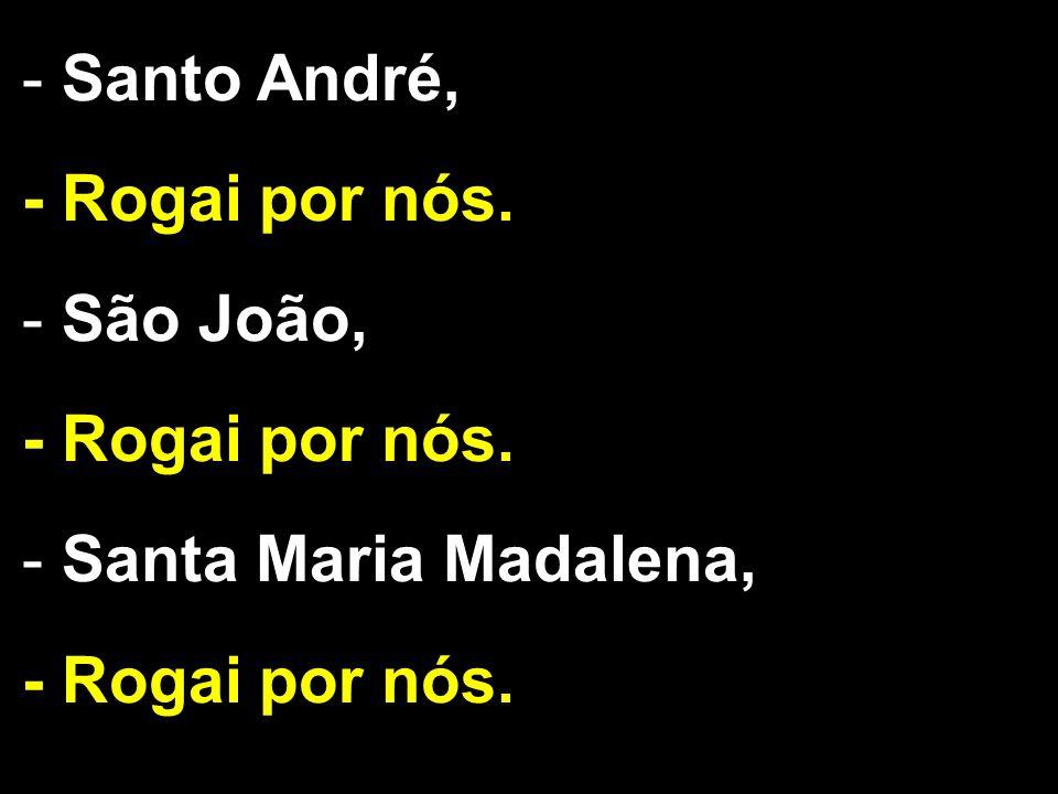- Santo André, - Rogai por nós. - São João, - Rogai por nós. - Santa Maria Madalena, - Rogai por nós.