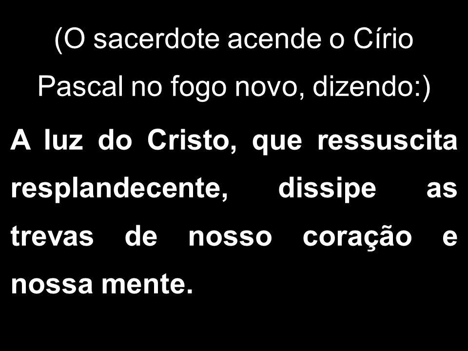 (O sacerdote acende o Círio Pascal no fogo novo, dizendo:) A luz do Cristo, que ressuscita resplandecente, dissipe as trevas de nosso coração e nossa