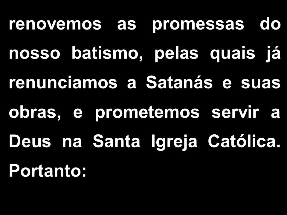 renovemos as promessas do nosso batismo, pelas quais já renunciamos a Satanás e suas obras, e prometemos servir a Deus na Santa Igreja Católica. Porta