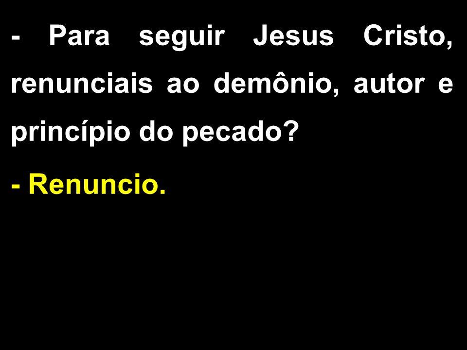 - Para seguir Jesus Cristo, renunciais ao demônio, autor e princípio do pecado? - Renuncio.