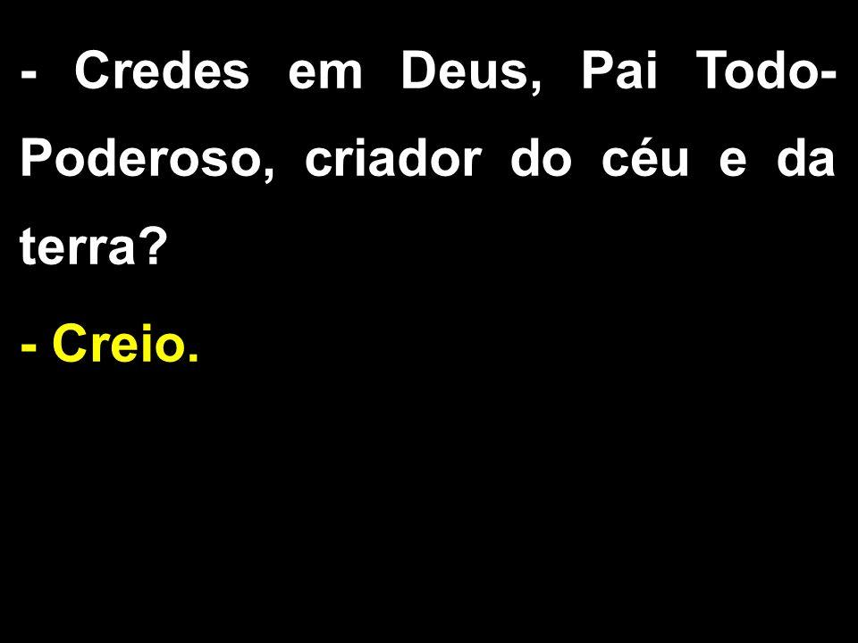 - Credes em Deus, Pai Todo- Poderoso, criador do céu e da terra? - Creio.