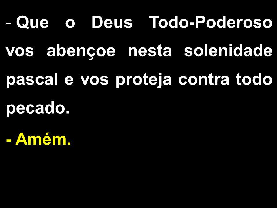 - Que o Deus Todo-Poderoso vos abençoe nesta solenidade pascal e vos proteja contra todo pecado. - Amém.