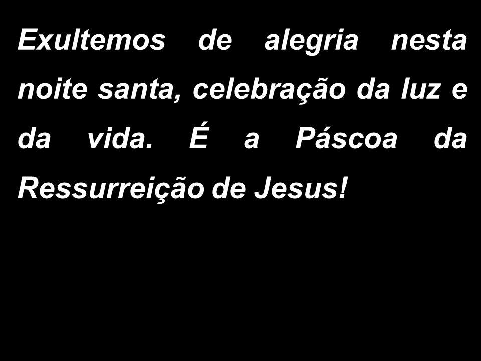 Exultemos de alegria nesta noite santa, celebração da luz e da vida. É a Páscoa da Ressurreição de Jesus!