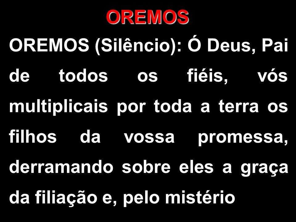 OREMOS OREMOS (Silêncio): Ó Deus, Pai de todos os fiéis, vós multiplicais por toda a terra os filhos da vossa promessa, derramando sobre eles a graça