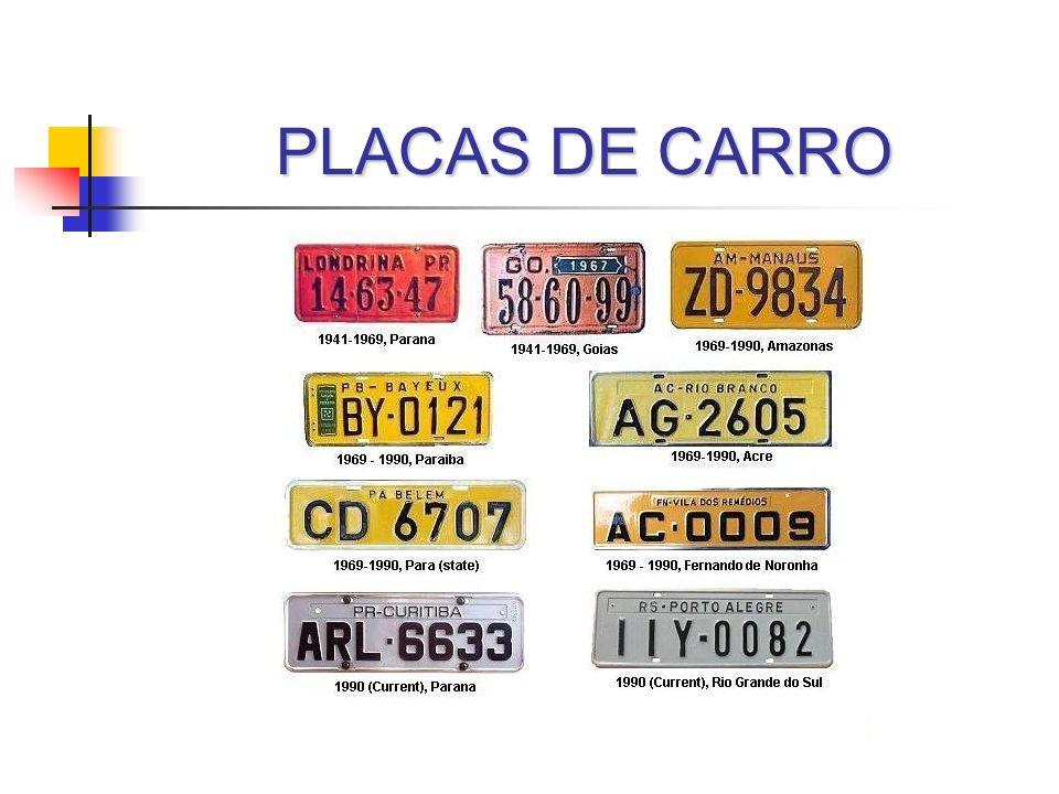 PLACAS DE CARRO Curiosidades Custo de um numerador especial R$ 50,00 a R$ 80,00 Clonagem 370 mil veiculos são roubados e 37 mil são clonados Troca de placas do veículo por outra com as mesmas características