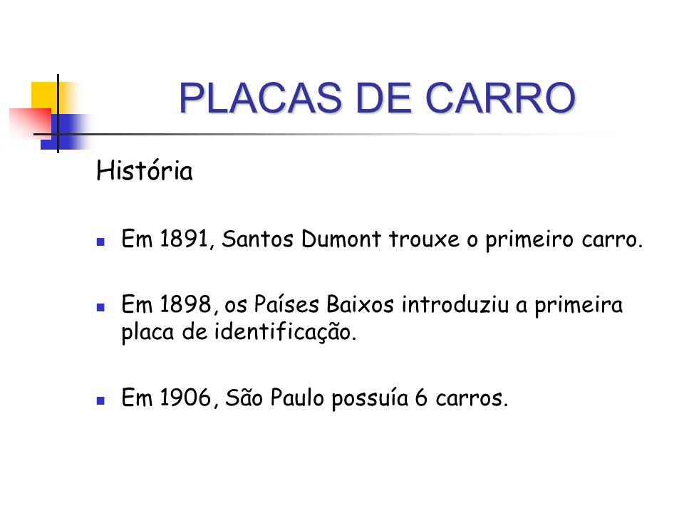 PLACAS DE CARRO História Em 1891, Santos Dumont trouxe o primeiro carro. Em 1898, os Países Baixos introduziu a primeira placa de identificação. Em 19