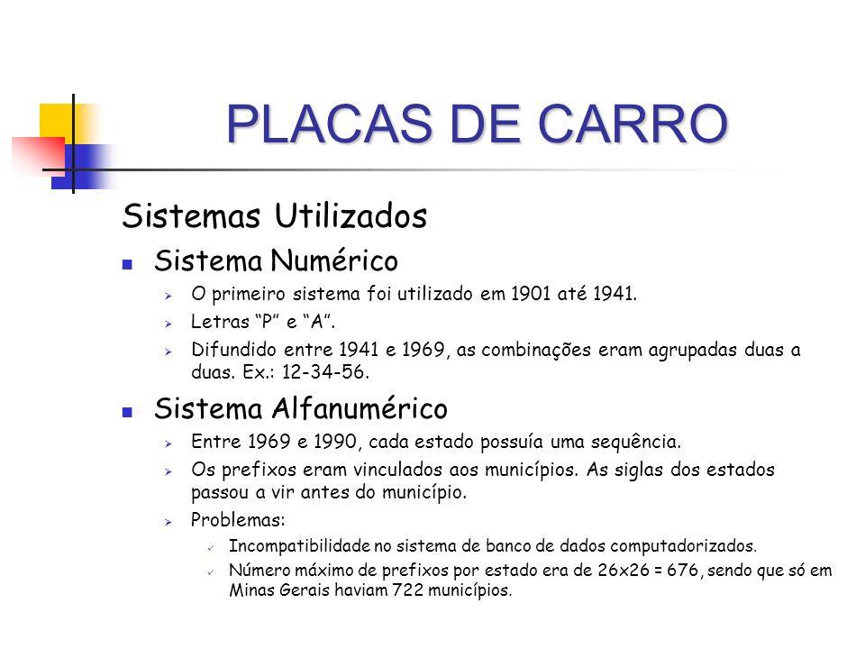PLACAS DE CARRO Sistemas Utilizados Sistema Numérico O primeiro sistema foi utilizado em 1901 até 1941. Letras P e A. Difundido entre 1941 e 1969, as