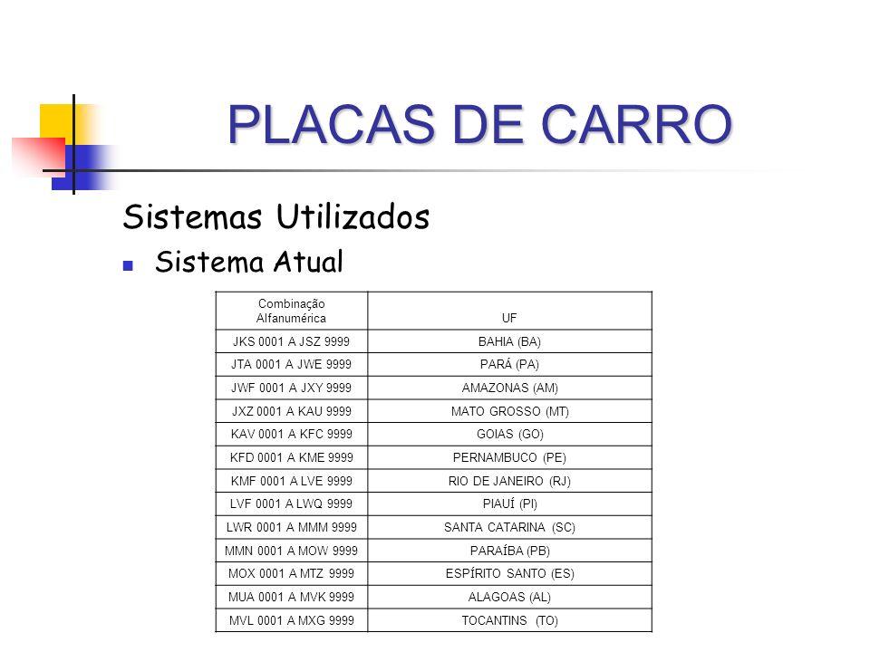 PLACAS DE CARRO Sistemas Utilizados Sistema Atual Combina ç ão Alfanum é rica UF JKS 0001 A JSZ 9999BAHIA (BA) JTA 0001 A JWE 9999 PAR Á (PA) JWF 0001