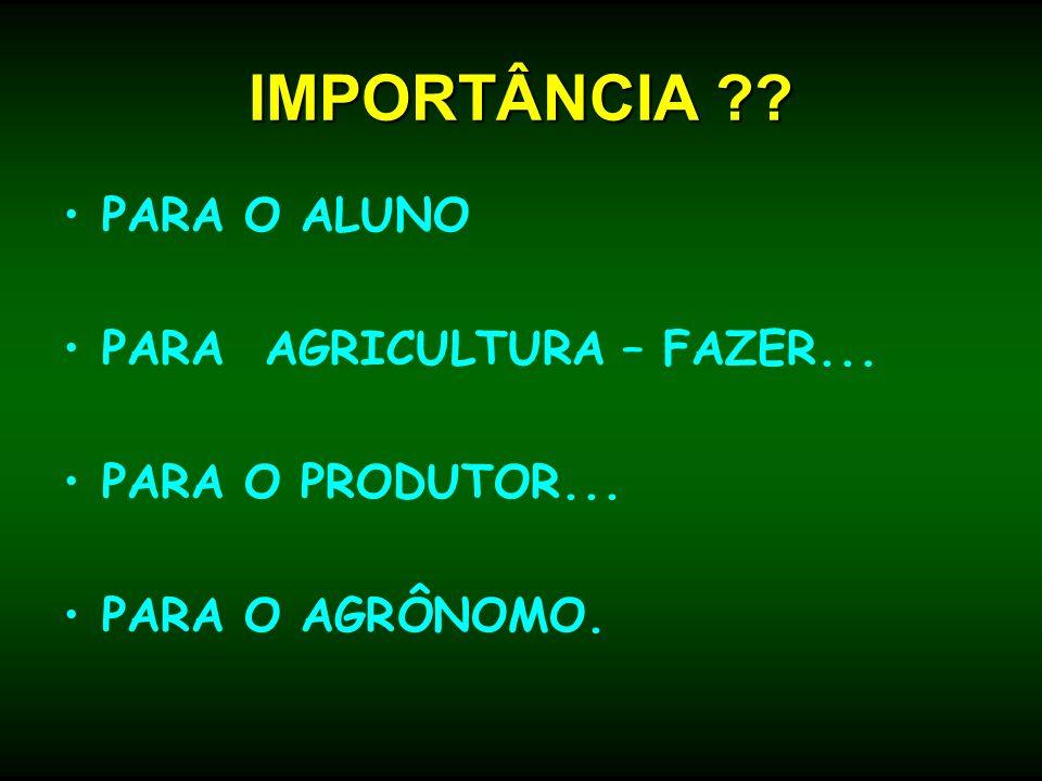 IMPORTÂNCIA ?? PARA O ALUNO PARA AGRICULTURA – FAZER... PARA O PRODUTOR... PARA O AGRÔNOMO.