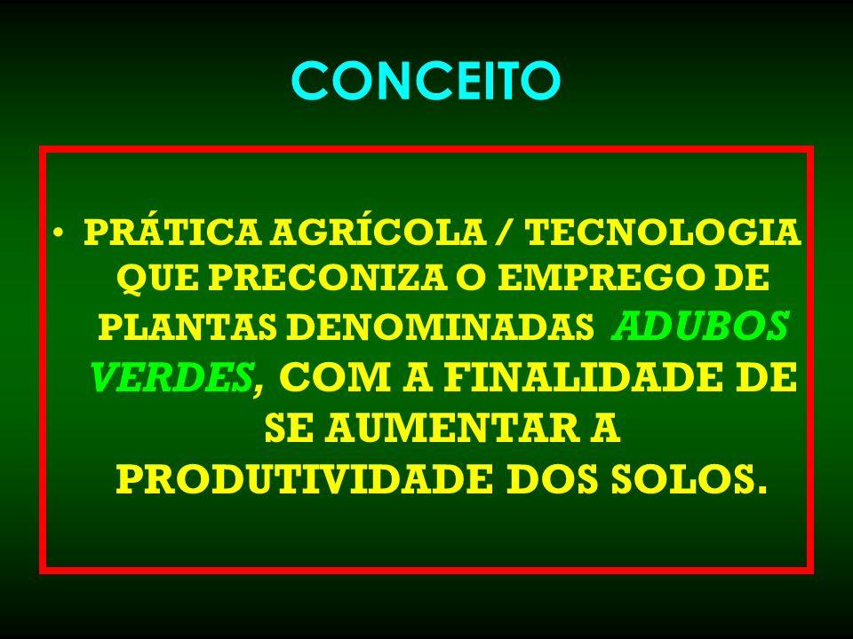 CONCEITO PRÁTICA AGRÍCOLA / TECNOLOGIA QUE PRECONIZA O EMPREGO DE PLANTAS DENOMINADAS ADUBOS VERDES, COM A FINALIDADE DE SE AUMENTAR A PRODUTIVIDADE D
