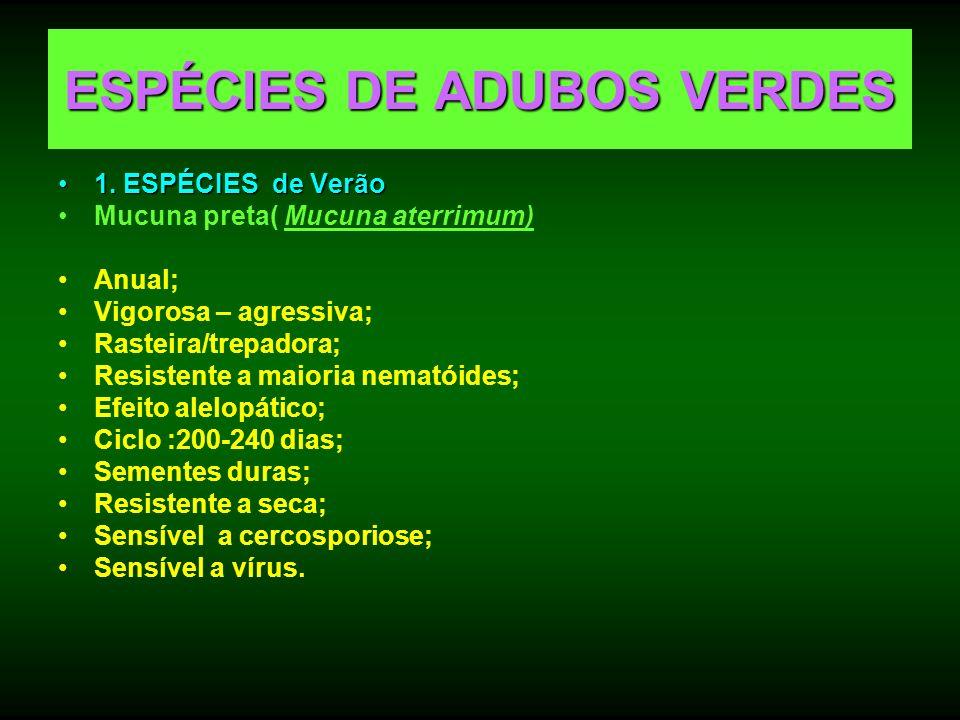 ESPÉCIES DE ADUBOS VERDES 1. ESPÉCIES de Verão1. ESPÉCIES de Verão Mucuna preta( Mucuna aterrimum) Anual; Vigorosa – agressiva; Rasteira/trepadora; Re