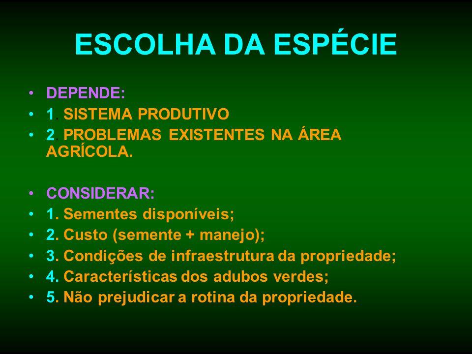 ESCOLHA DA ESPÉCIE DEPENDE: 1. SISTEMA PRODUTIVO 2. PROBLEMAS EXISTENTES NA ÁREA AGRÍCOLA. CONSIDERAR: 1. Sementes disponíveis; 2. Custo (semente + ma