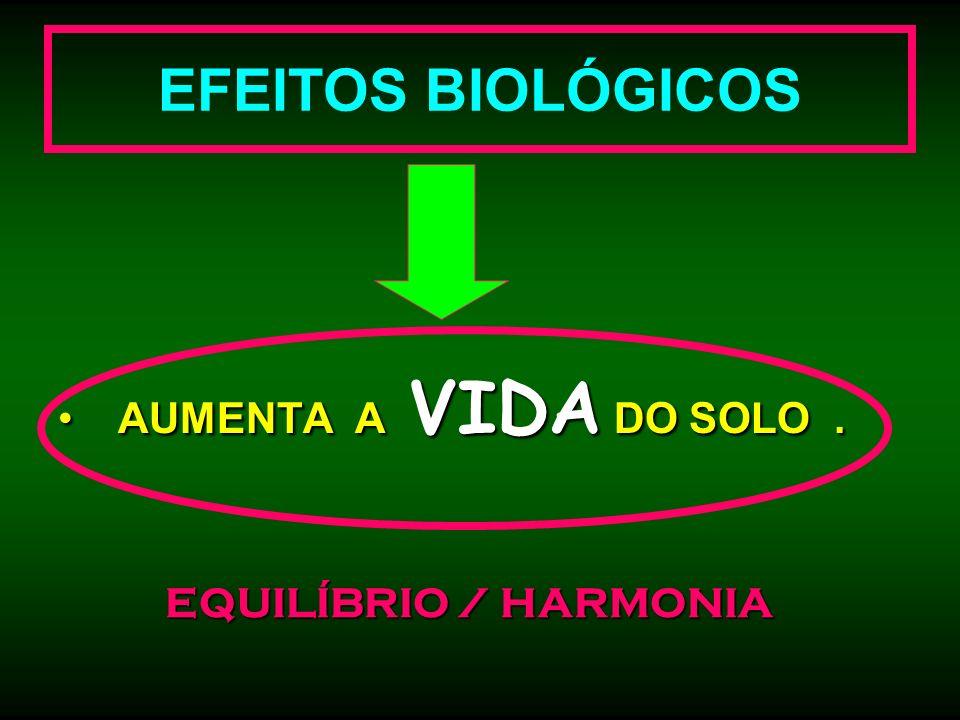 EFEITOS BIOLÓGICOS AUMENTA A VIDA DO SOLO. AUMENTA A VIDA DO SOLO. EQUILÍBRIO / HARMONIA