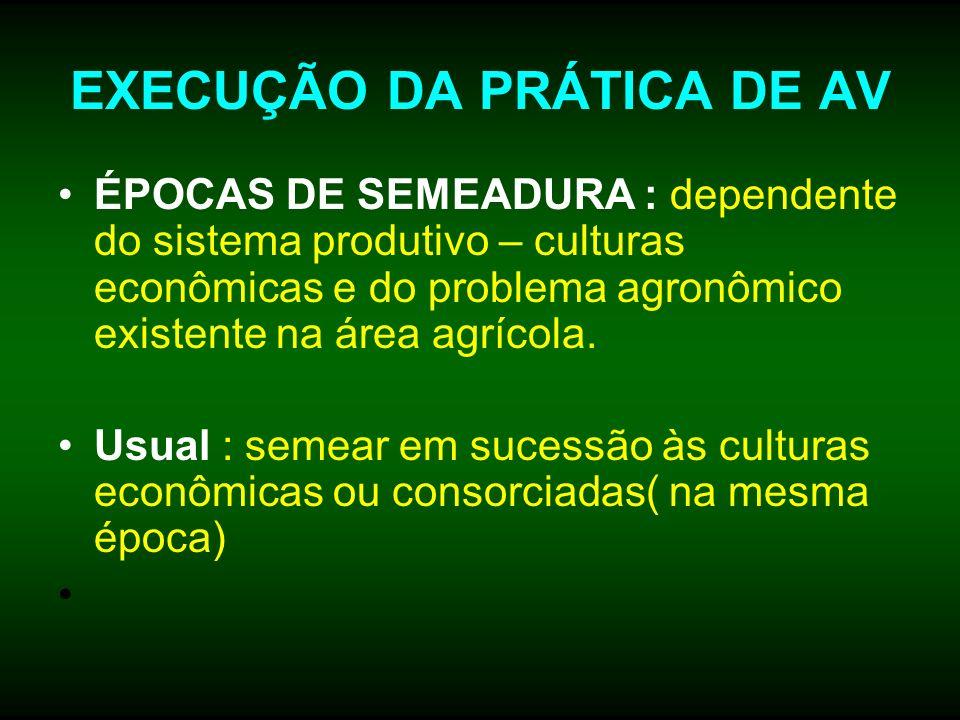 EXECUÇÃO DA PRÁTICA DE AV ÉPOCAS DE SEMEADURA : dependente do sistema produtivo – culturas econômicas e do problema agronômico existente na área agríc