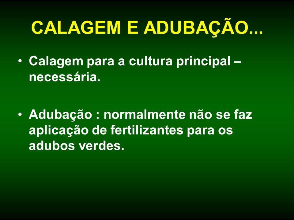 CALAGEM E ADUBAÇÃO... Calagem para a cultura principal – necessária. Adubação : normalmente não se faz aplicação de fertilizantes para os adubos verde