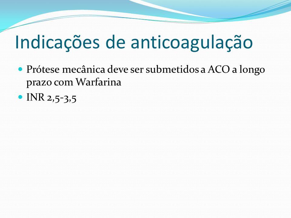Indicações de anticoagulação Valva biológica-Bioprótese Fatores para uso de ACO em implantes de biopróteses no 1º trimestre: Fibrilação atrial crônica