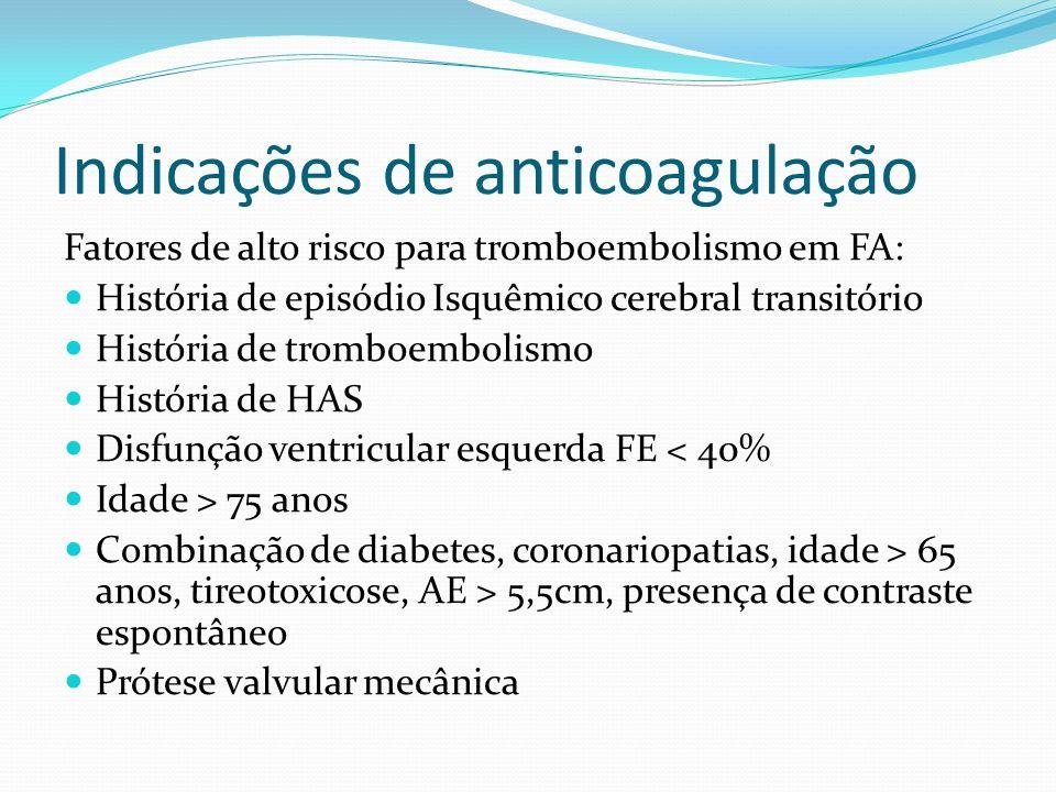 Indicações de anticoagulação Fibrilação Atrial Aumenta 6x o risco de AVCI Quando associado a fatores de alto risco aumenta 17 x o risco de AVC