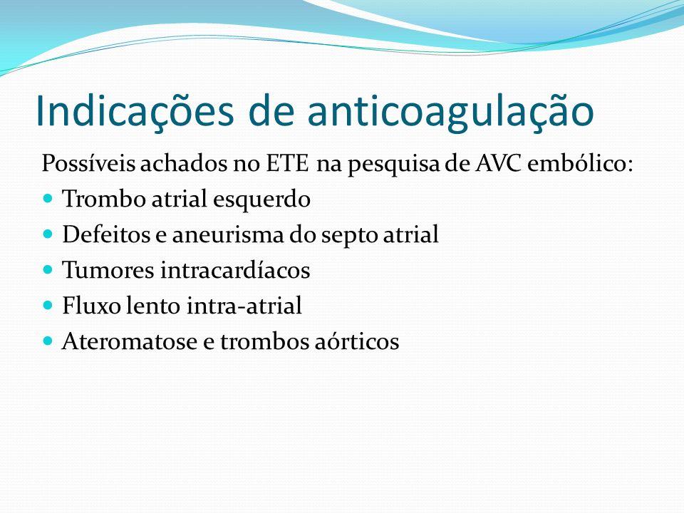Indicações de anticoagulação Esquema de ACO para cardioversão da Fibrilação ou Flutter atrial agudo: 1)Warfarin 5 mg/dia INR 2-3 por 3 semanas CV warf