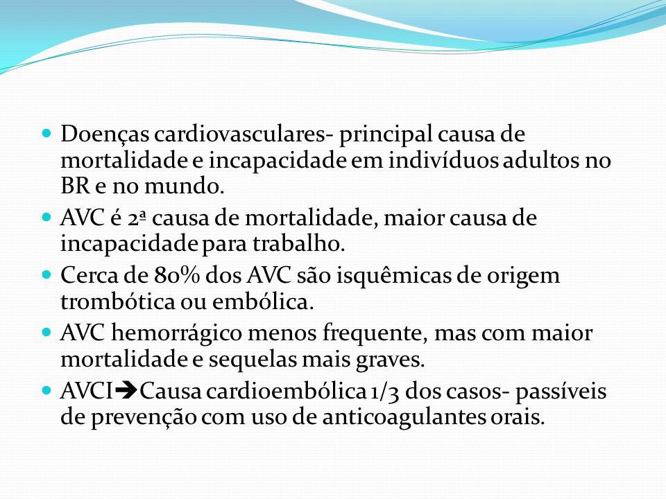 Doenças cardiovasculares- principal causa de mortalidade e incapacidade em indivíduos adultos no BR e no mundo.