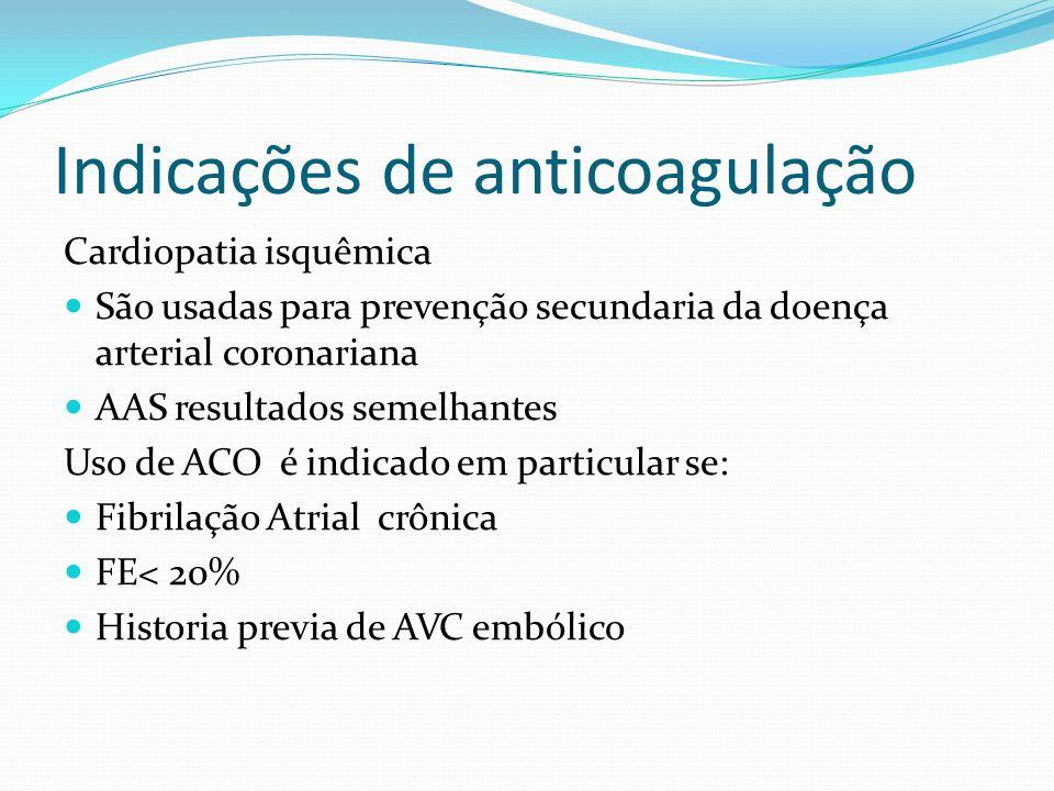 Doses preconizadas AAS 75-130 mg/dia 25% Ticlopidina 250 mg 2x/dia 25-40% Clopidogrel 75 mg/dia 30% Dipiridamol 200 mg 2x/dia associado AAS 35 a 40%
