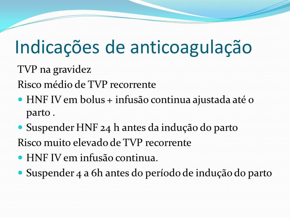 Indicações de anticoagulação Gravidez: Heparina não fracionada 5000 UI SC 12/12h ACO pós-parto=warfarin 4 a 6 semanas INR 2-3 **Warfarin = proscrito