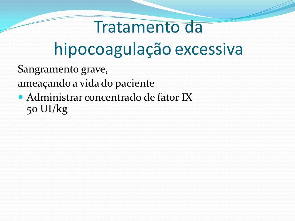 Tratamento da hipocoagulação excessiva INR 10-20 Vitamina K 3 a 5 mg EV INR 6/6h Repetir a dose se INR> 10 após 12h INR>20 sem sangramento ou <20 com