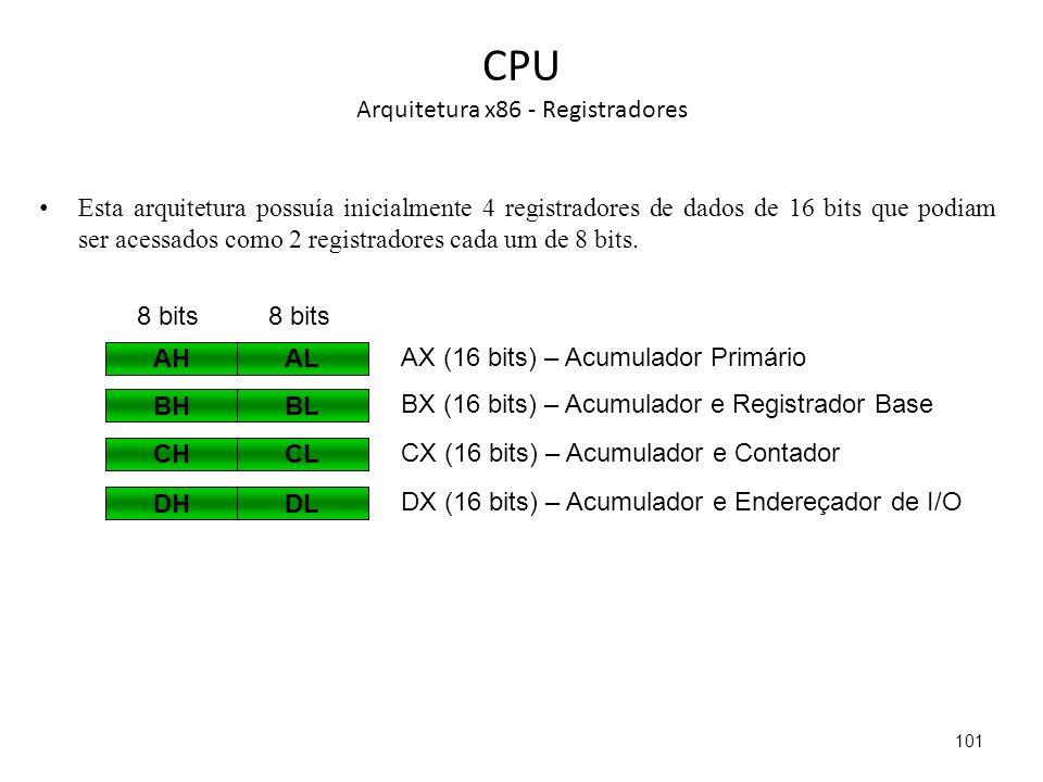 CPU Arquitetura x86 - Registradores Esta arquitetura possuía inicialmente 4 registradores de dados de 16 bits que podiam ser acessados como 2 registradores cada um de 8 bits.