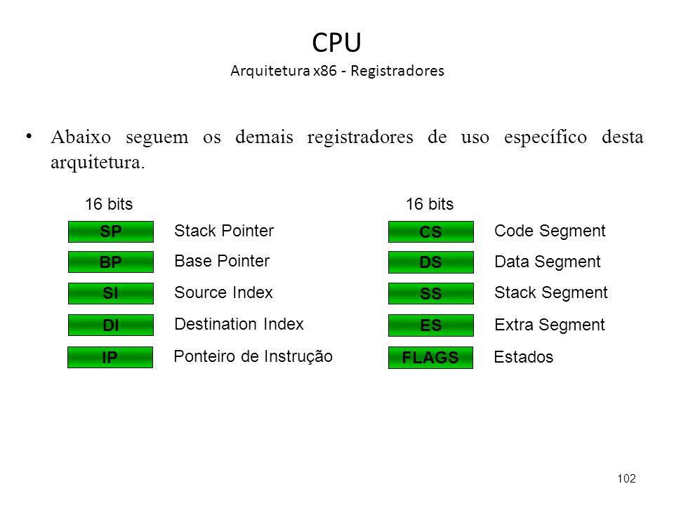 CPU Arquitetura x86 - Registradores Abaixo seguem os demais registradores de uso específico desta arquitetura.